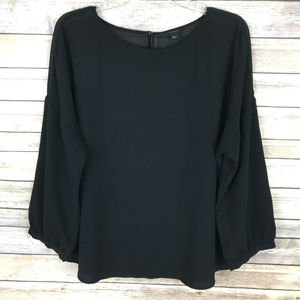 Ann Taylor Sz XL Black Long Sleeve Sheer BLouse